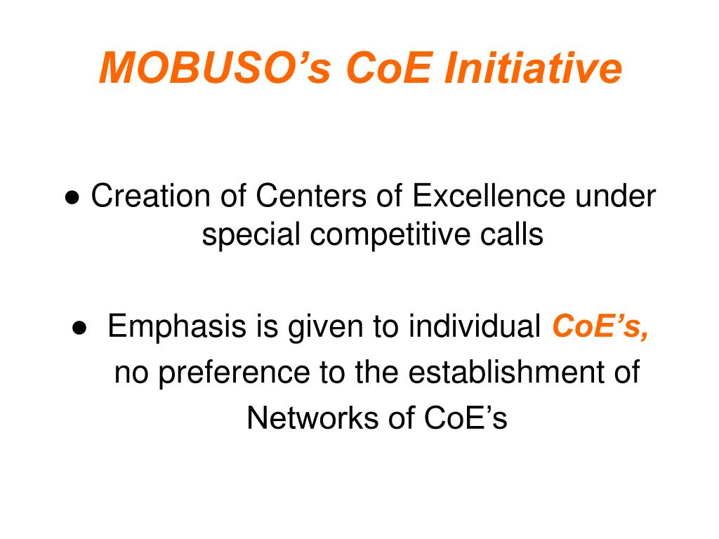 MOBUSO's CoE Initiative