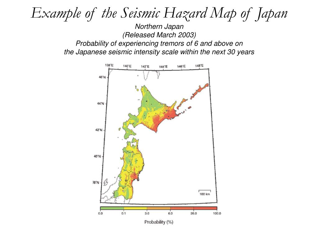 Example of the Seismic Hazard Map of Japan