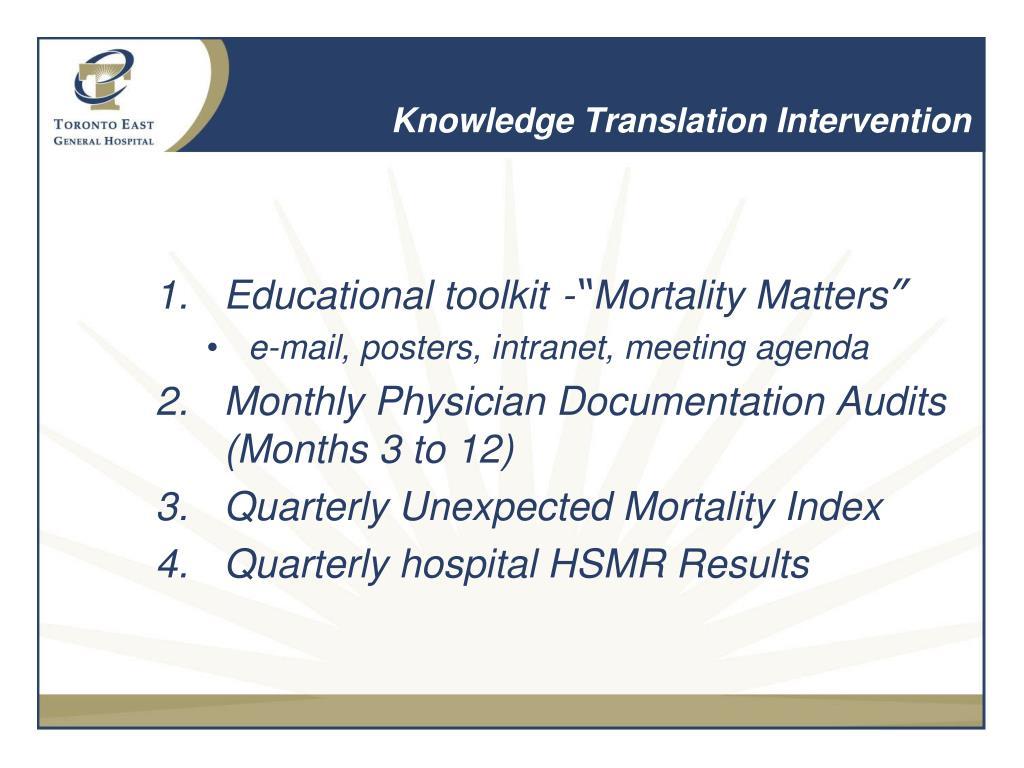 Knowledge Translation Intervention