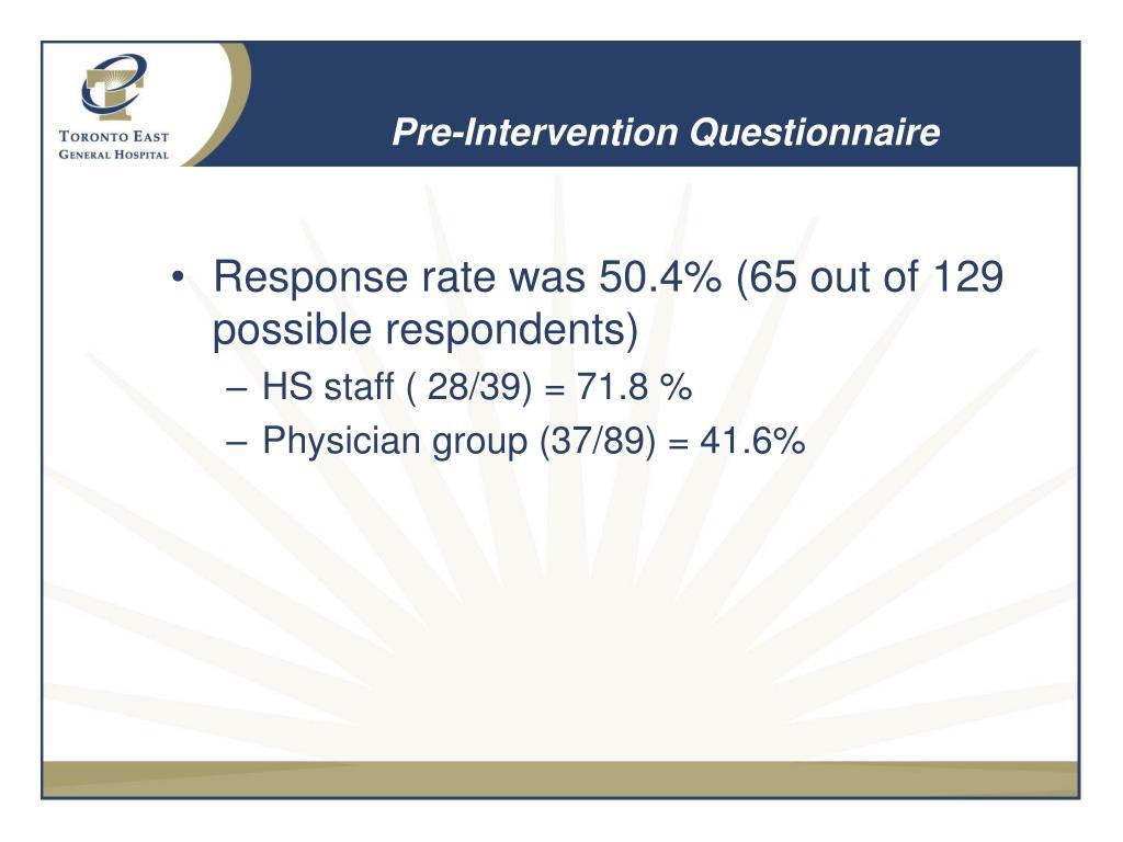 Pre-Intervention Questionnaire