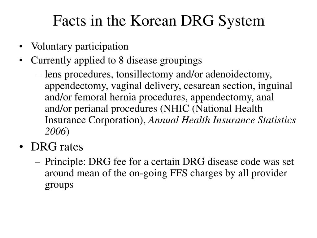 Facts in the Korean DRG System