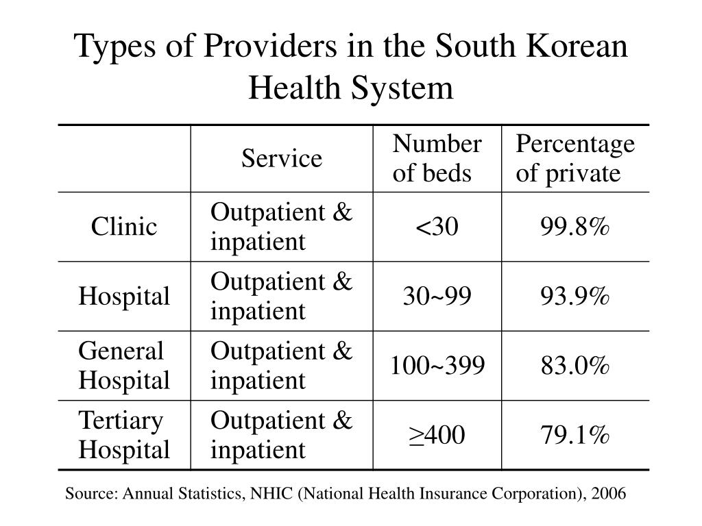 Types of Providers in the South Korean Health System