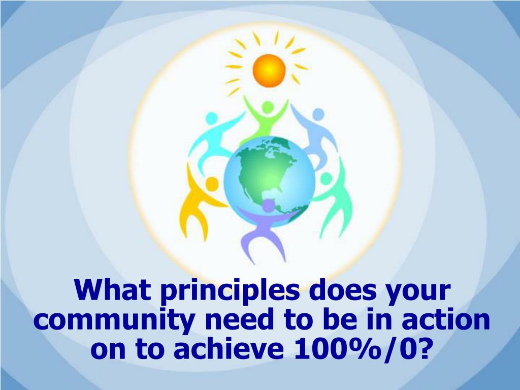What principles does your community need to be in action on to achieve 100%/0?