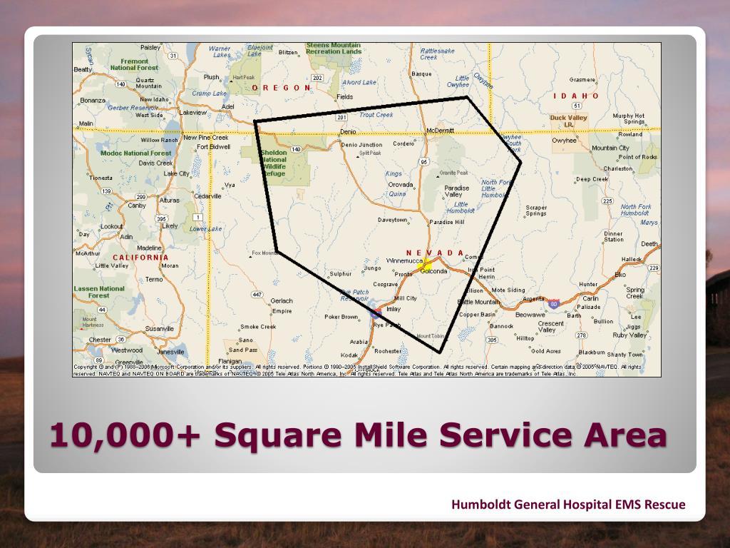 10,000+ Square Mile Service Area