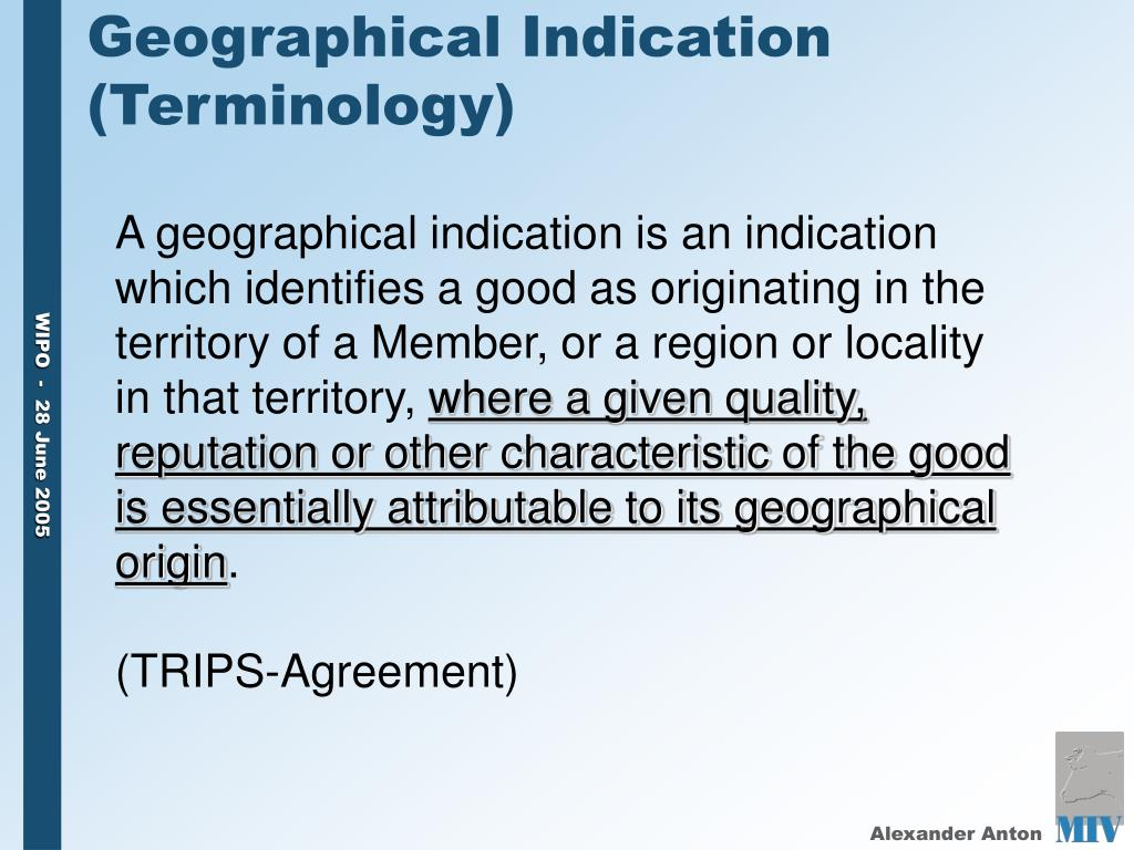 Geographical Indication (Terminology)