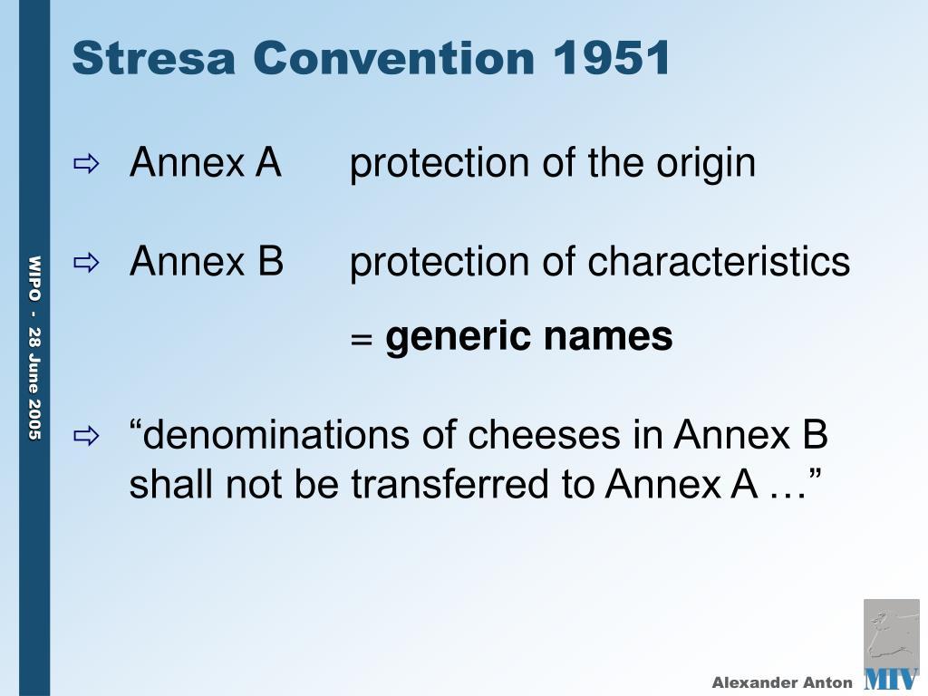 Stresa Convention 1951