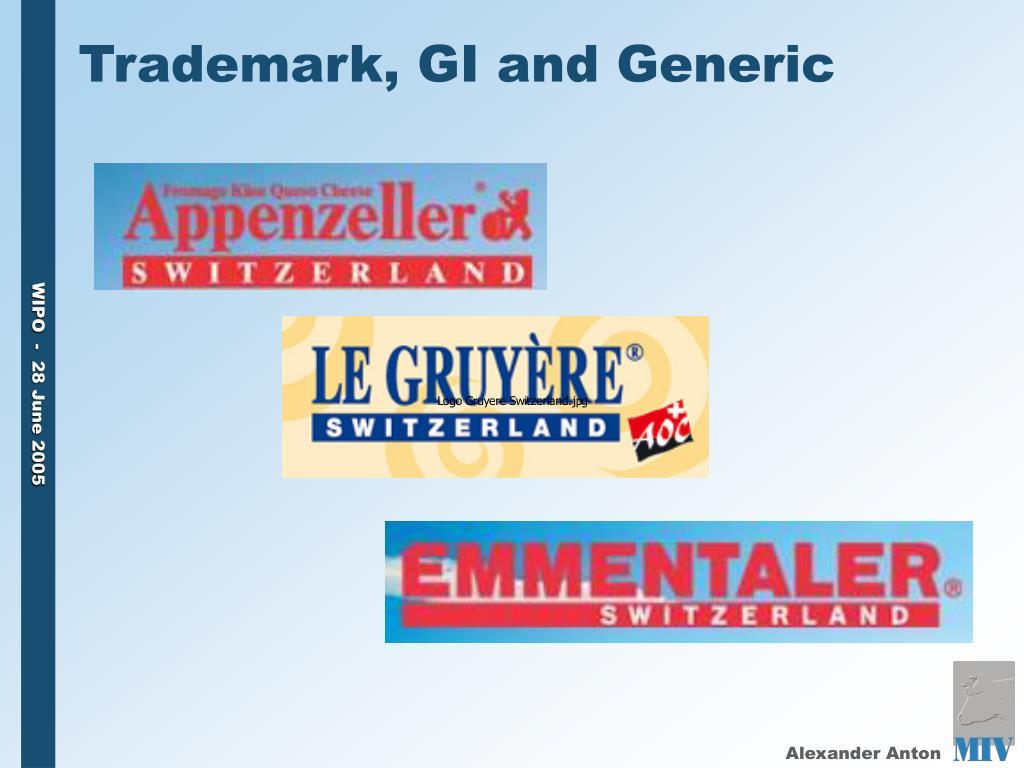 Trademark, GI and Generic