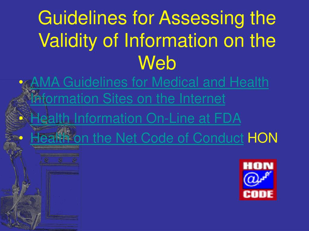 Guidelines for Assessing the Validity of Information on the Web