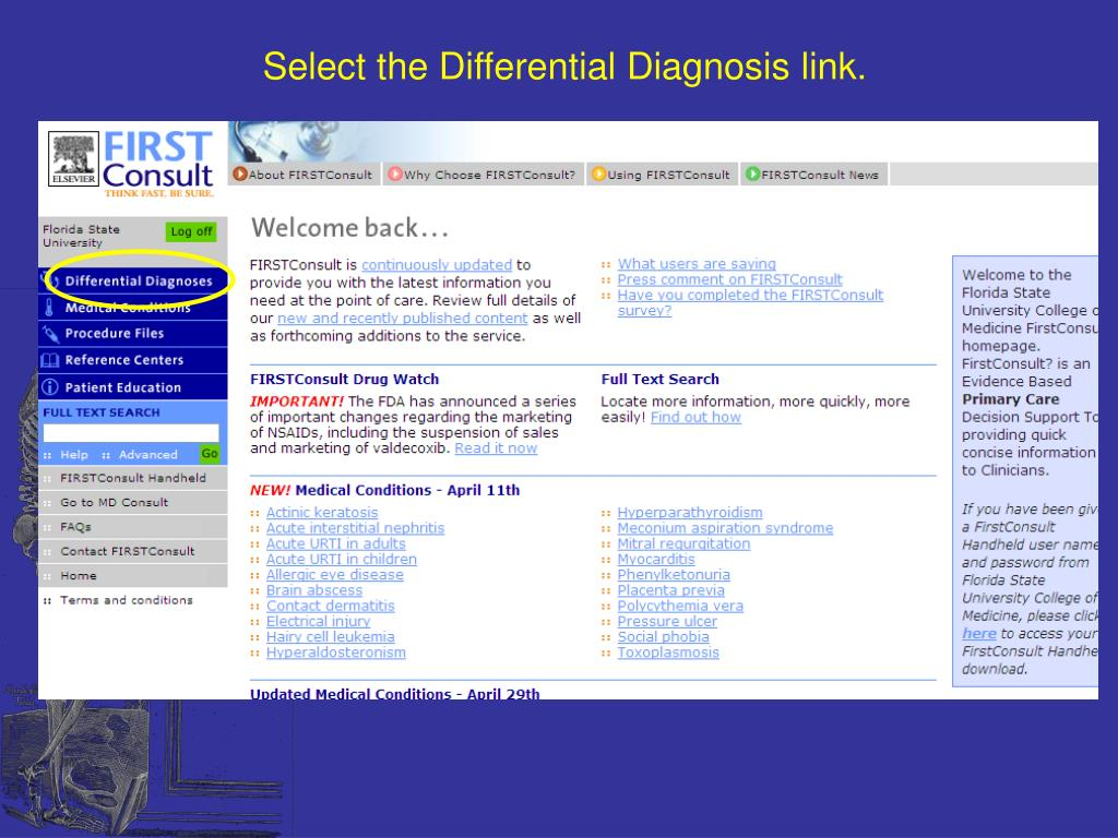 Select the Differential Diagnosis link.