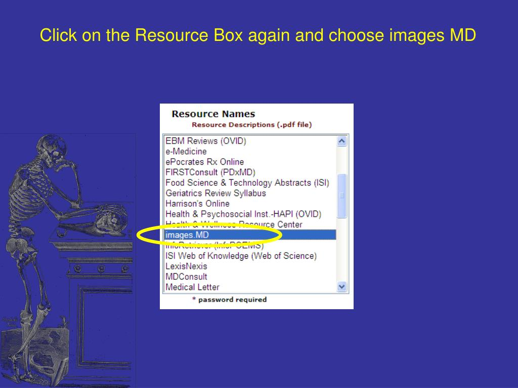 Click on the Resource Box again and choose images MD
