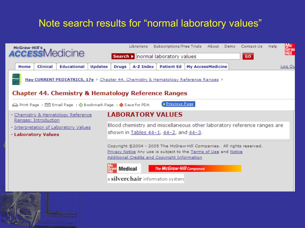 """Note search results for """"normal laboratory values"""""""