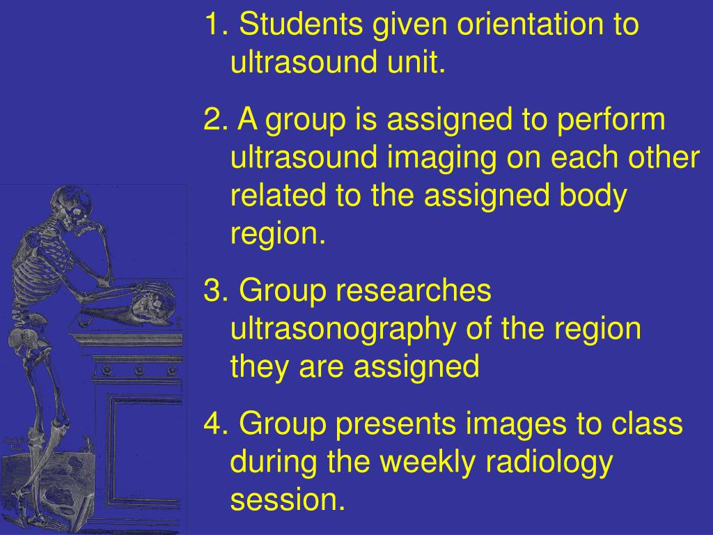 Students given orientation to ultrasound unit.