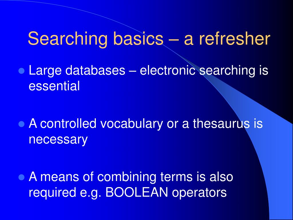 Searching basics – a refresher