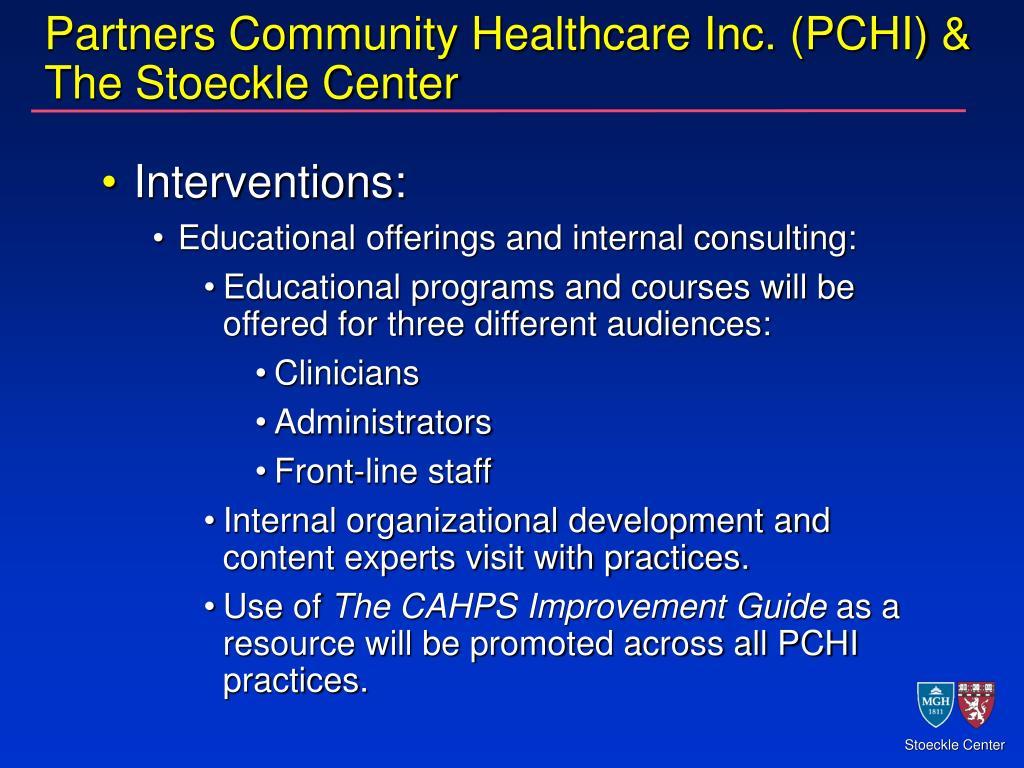 Partners Community Healthcare Inc. (PCHI) & The Stoeckle Center