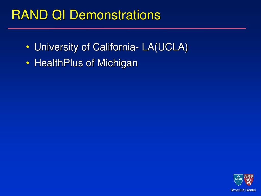 RAND QI Demonstrations