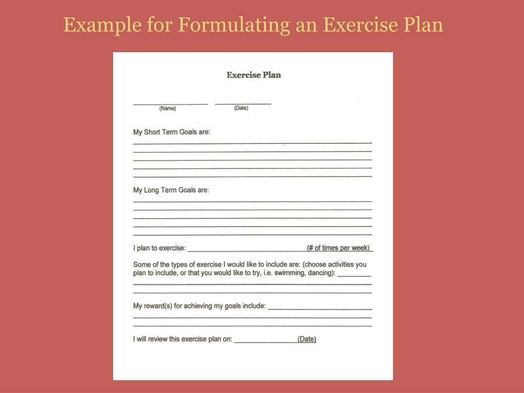 Example for Formulating an Exercise Plan