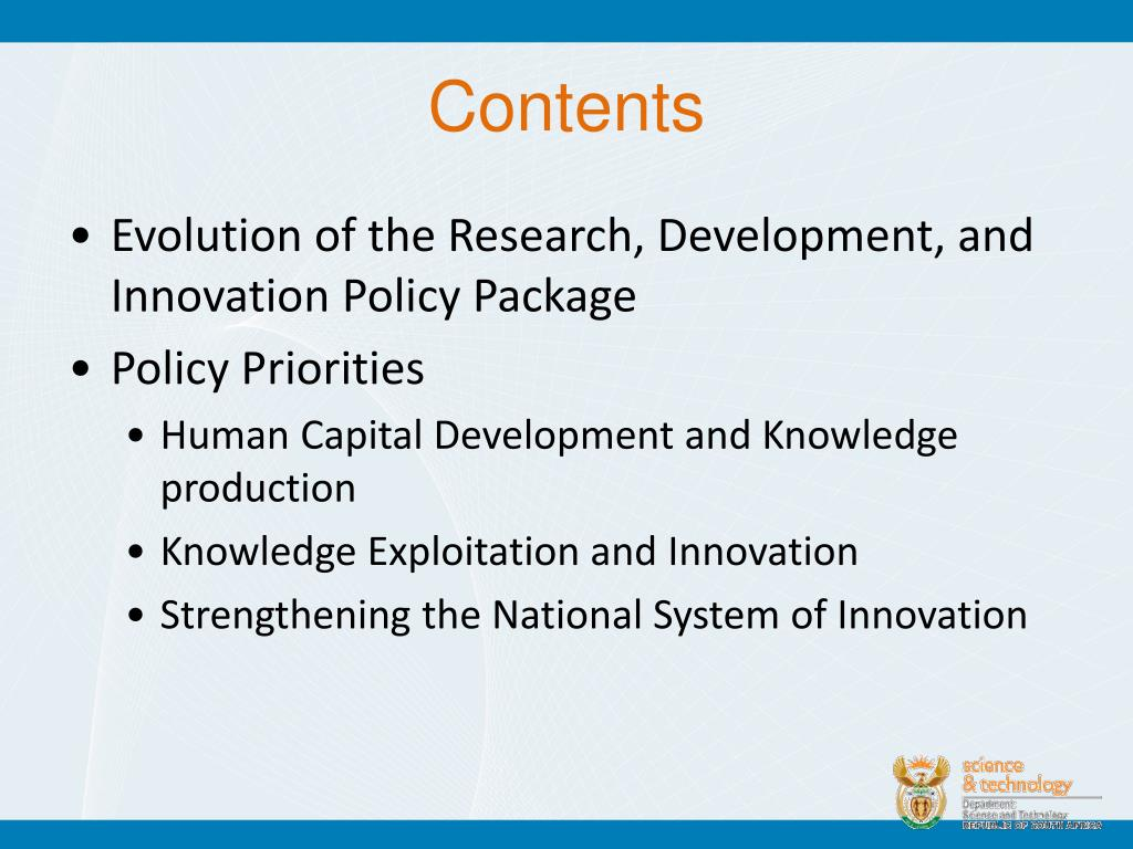 Evolution of the Research, Development, and Innovation Policy Package