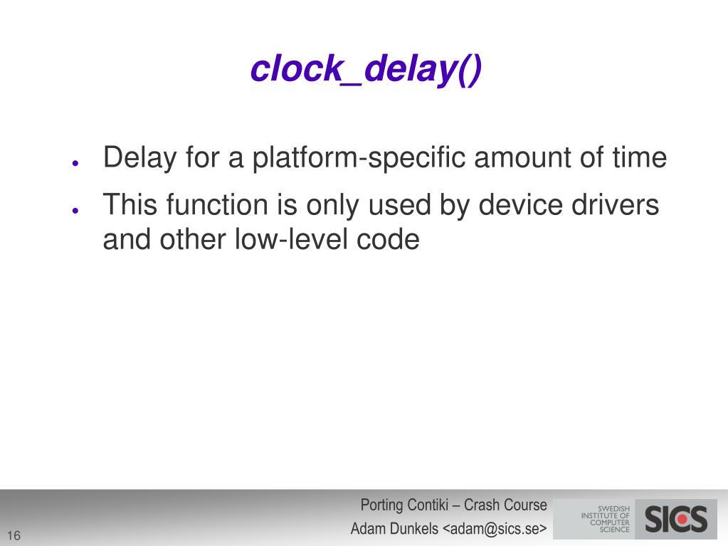 clock_delay()