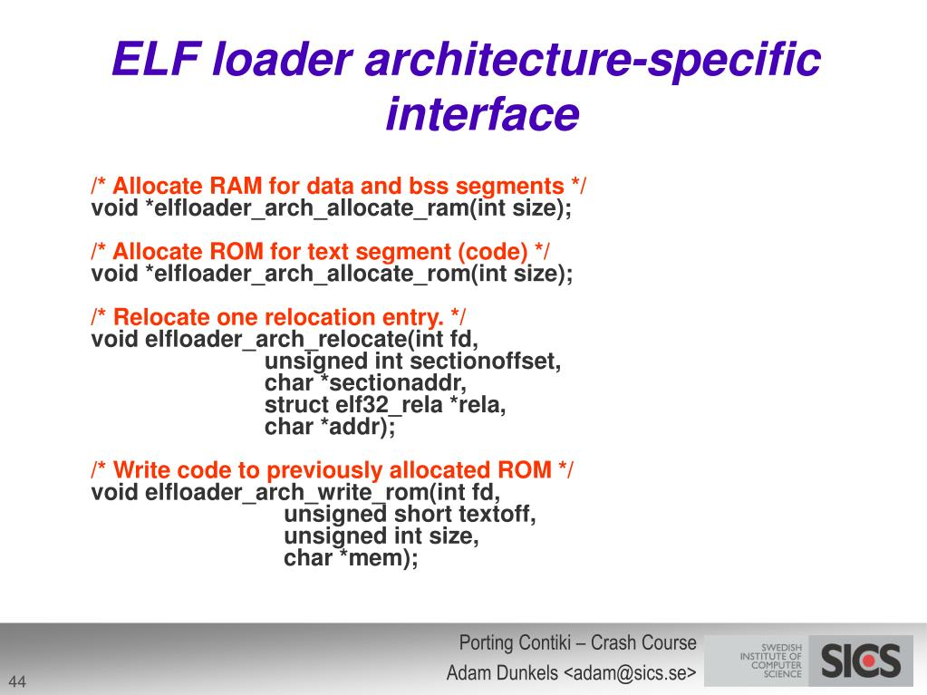 ELF loader architecture-specific interface