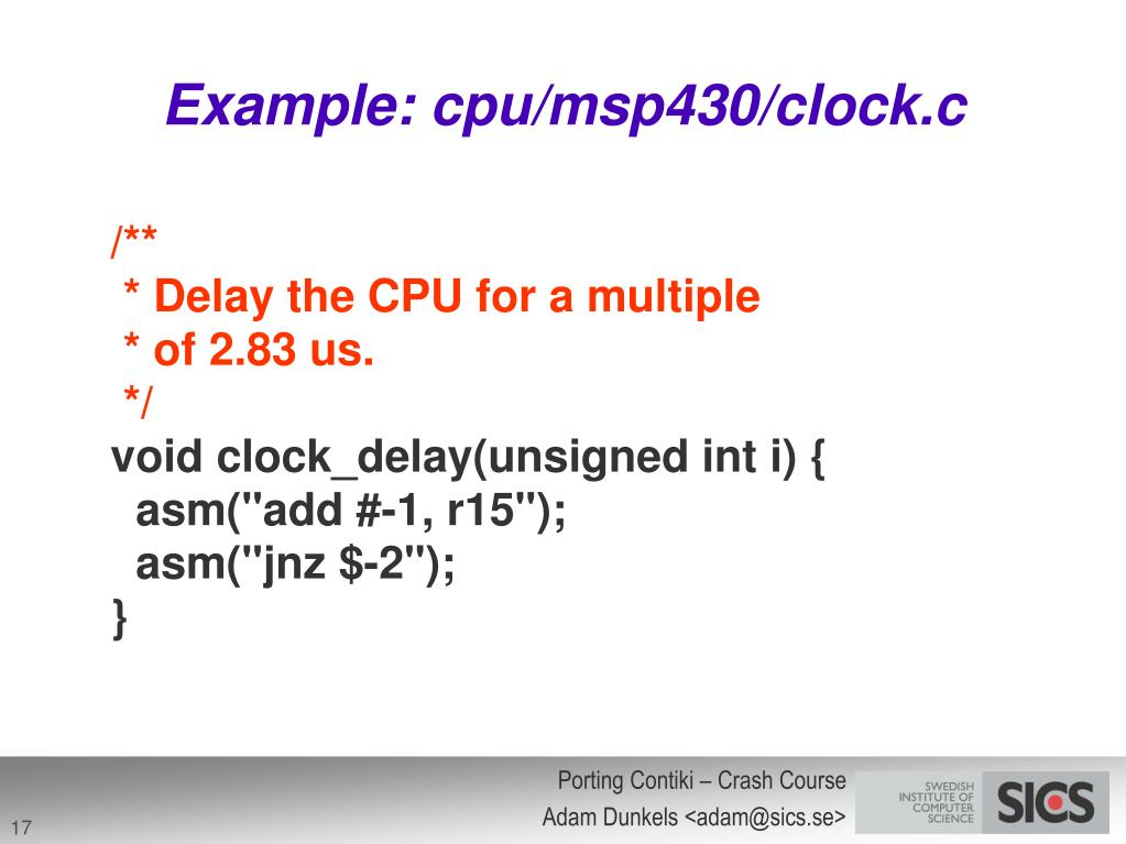 Example: cpu/msp430/clock.c