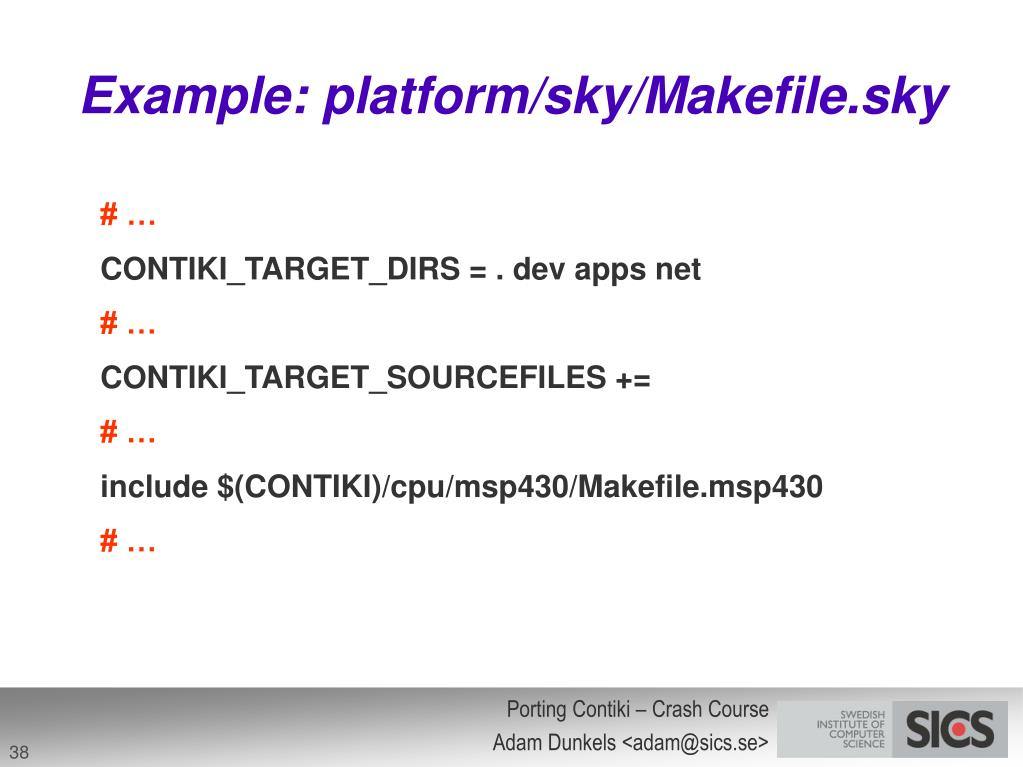 Example: platform/sky/Makefile.sky