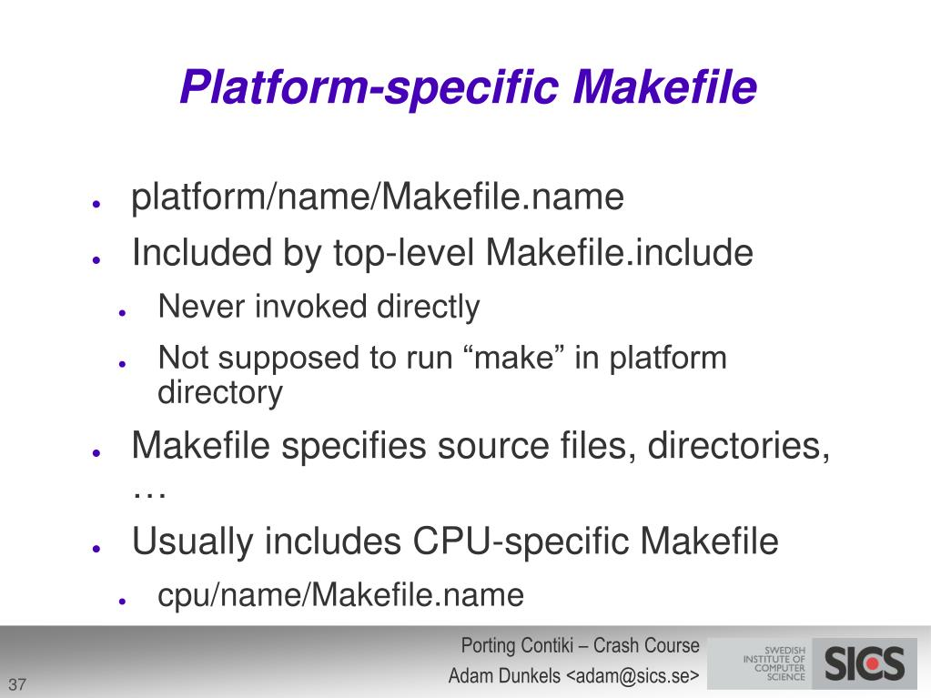Platform-specific Makefile