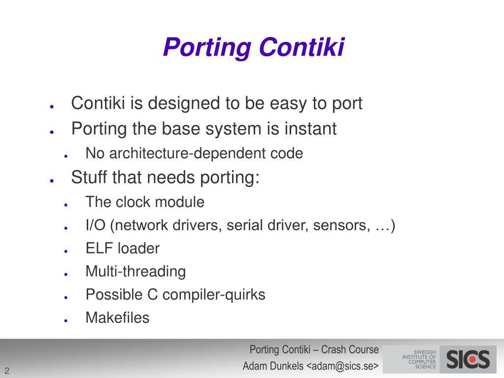 Porting Contiki