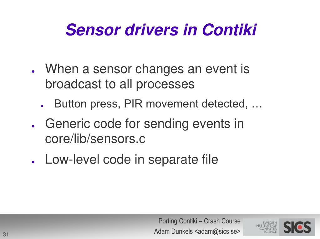 Sensor drivers in Contiki