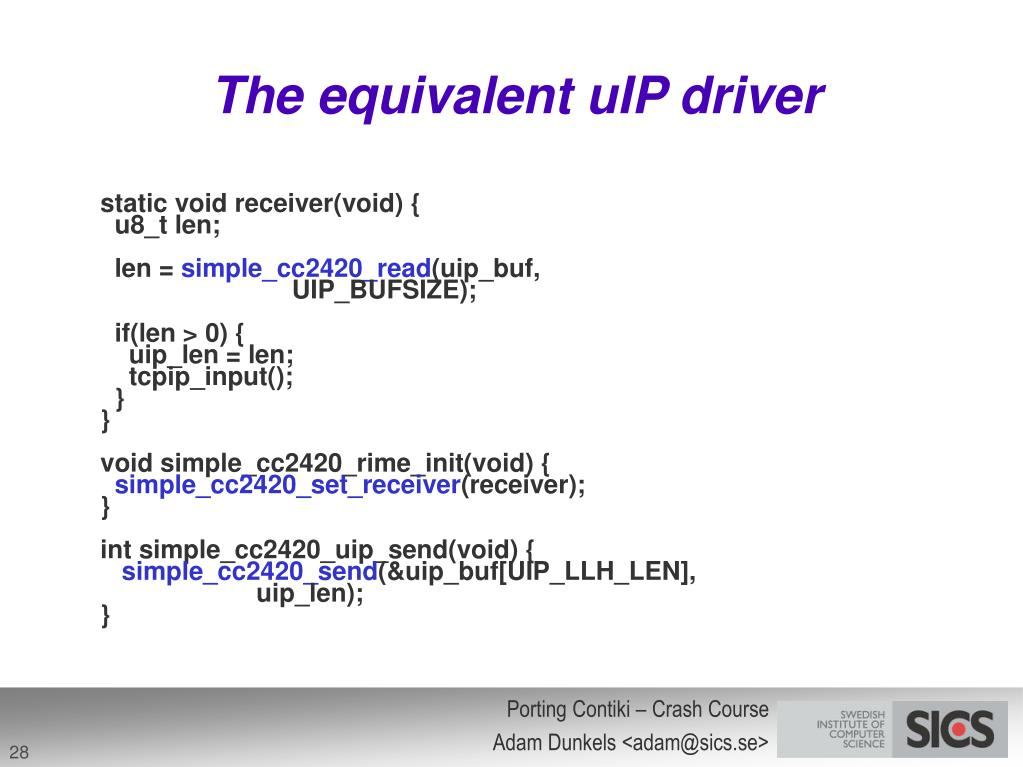 The equivalent uIP driver