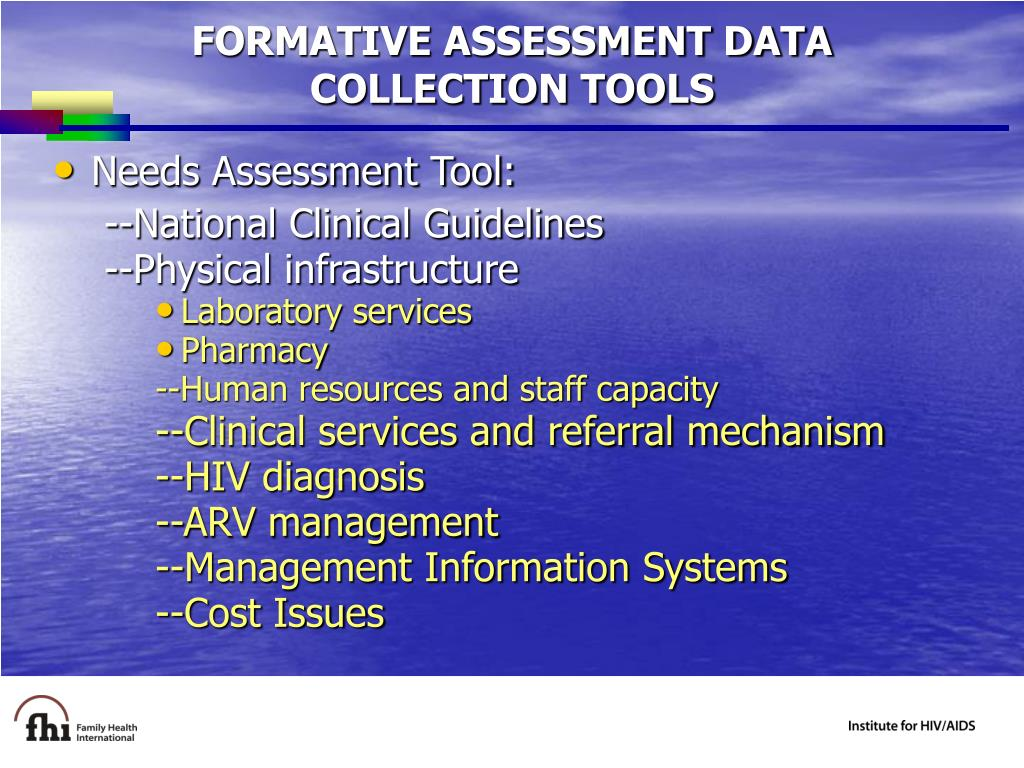 FORMATIVE ASSESSMENT DATA COLLECTION TOOLS