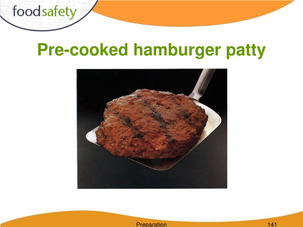 Pre-cooked hamburger patty