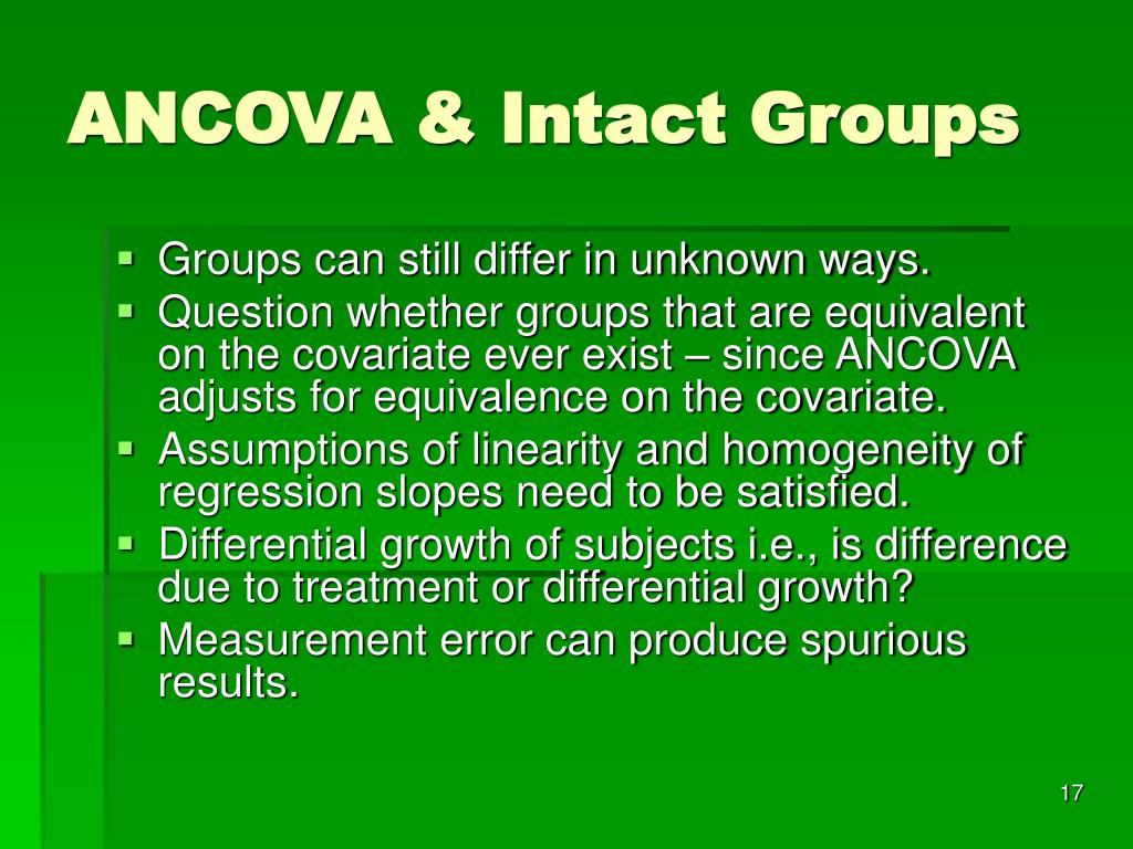 ANCOVA & Intact Groups