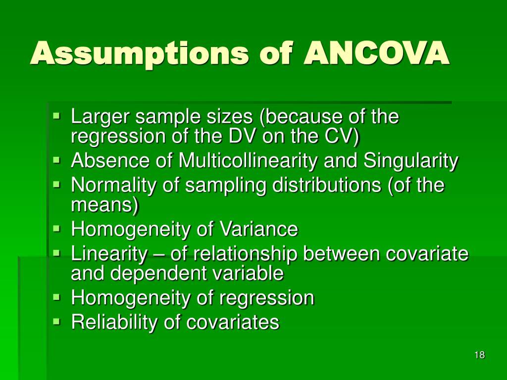 Assumptions of ANCOVA