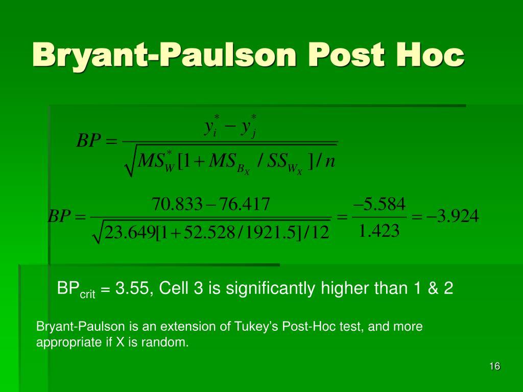 Bryant-Paulson Post Hoc
