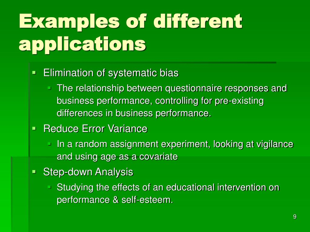 Examples of different applications