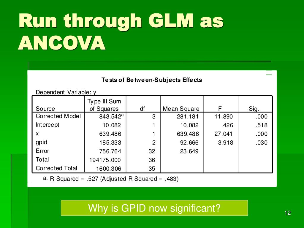 Run through GLM as ANCOVA