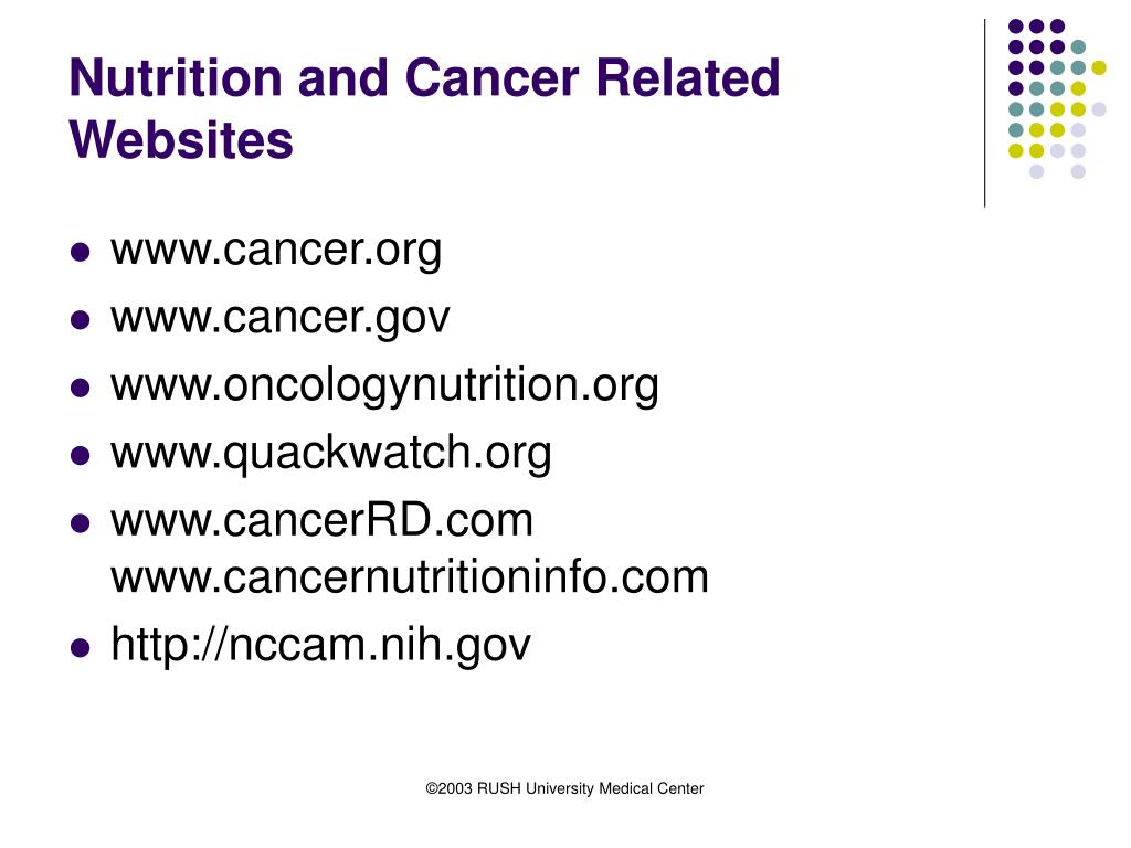 Nutrition and Cancer Related Websites