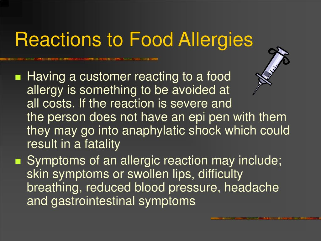 Reactions to Food Allergies