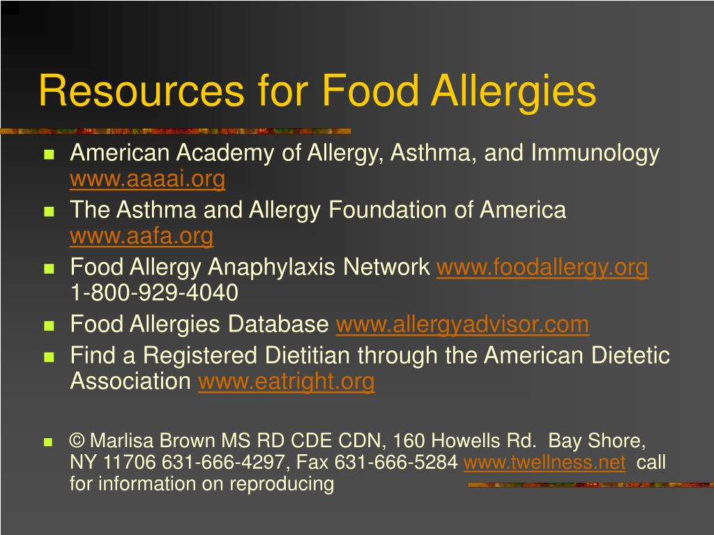 Resources for Food Allergies