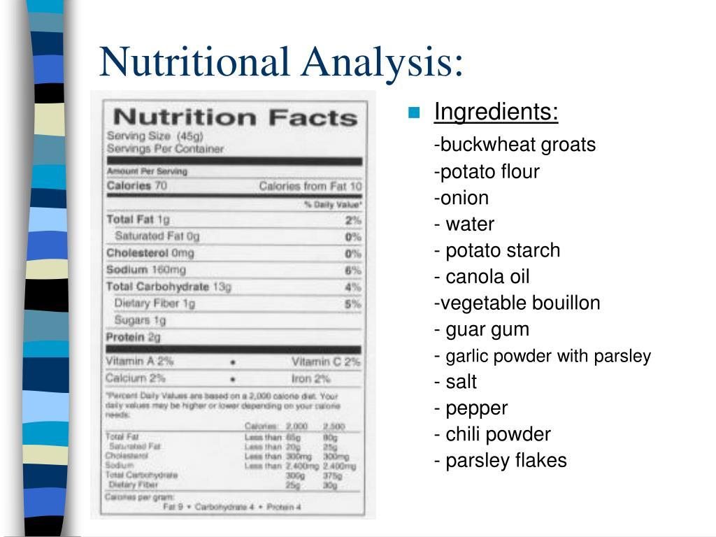 Nutritional Analysis:
