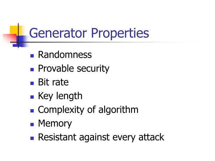Generator Properties