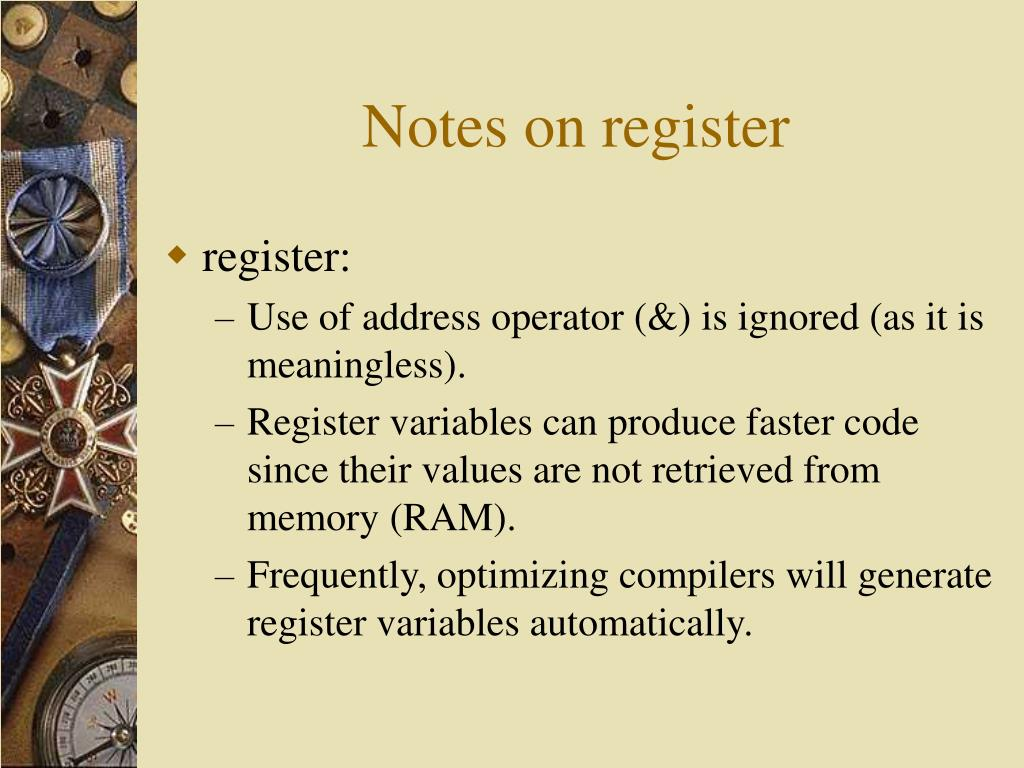 Notes on register