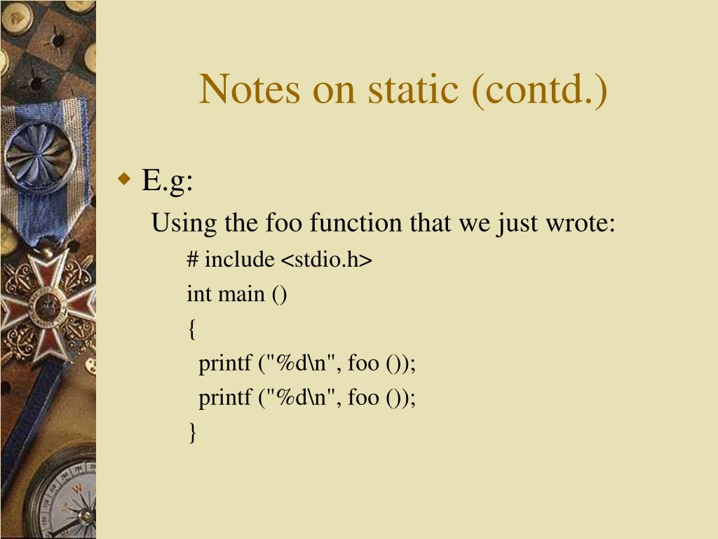 Notes on static (contd.)