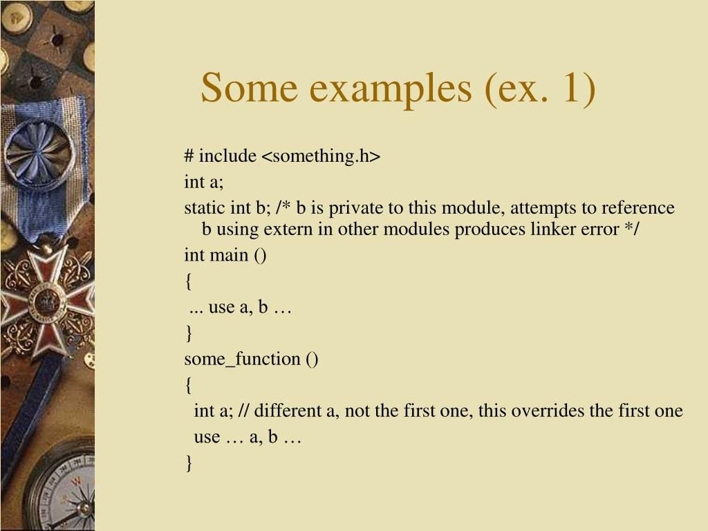 Some examples (ex. 1)
