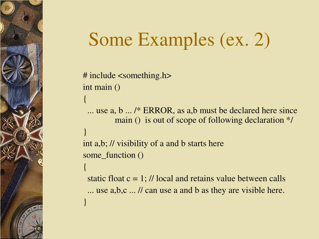 Some Examples (ex. 2)