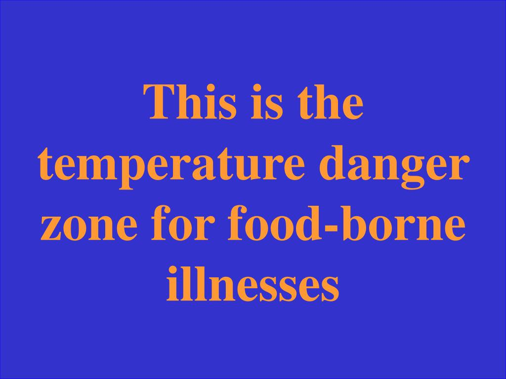 This is the temperature danger zone for food-borne illnesses