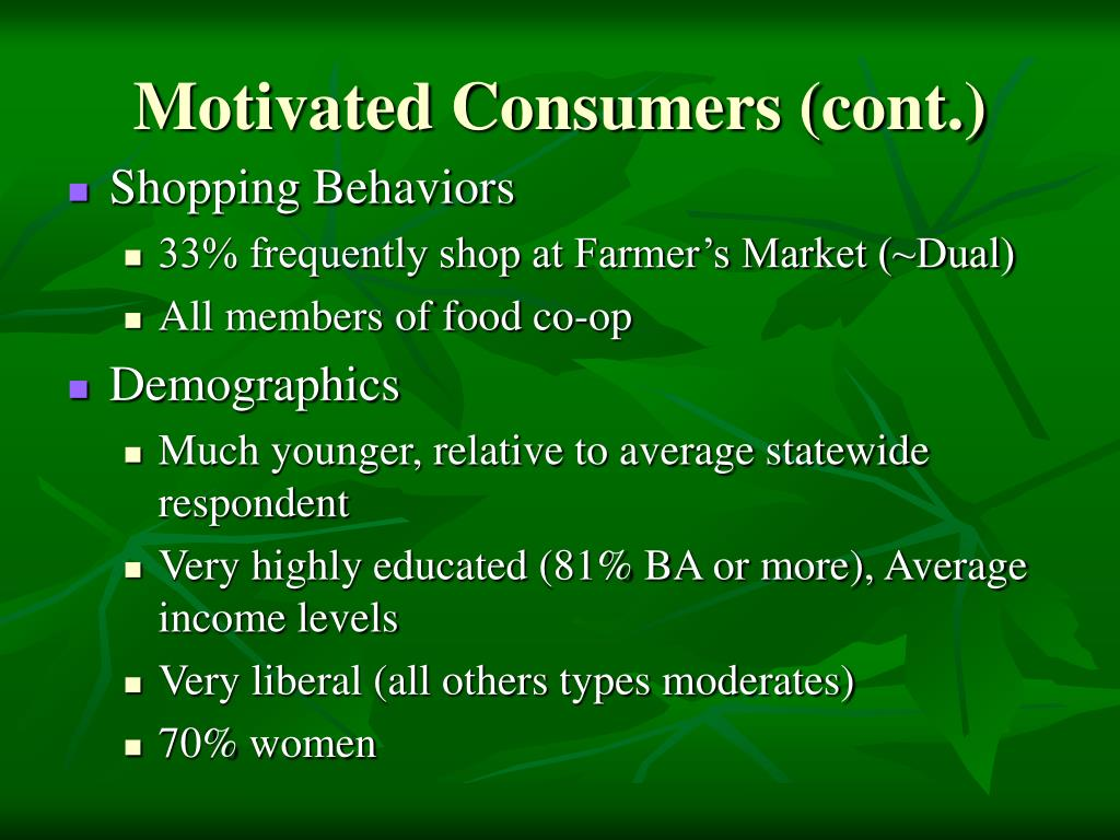 Motivated Consumers (cont.)