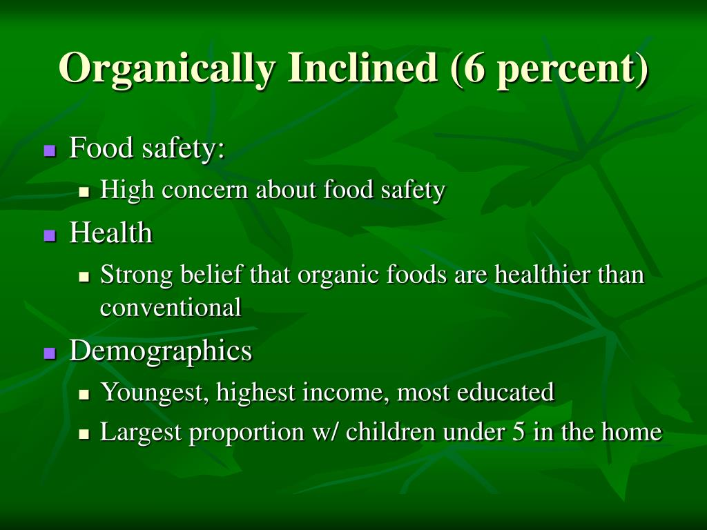 Organically Inclined (6 percent)