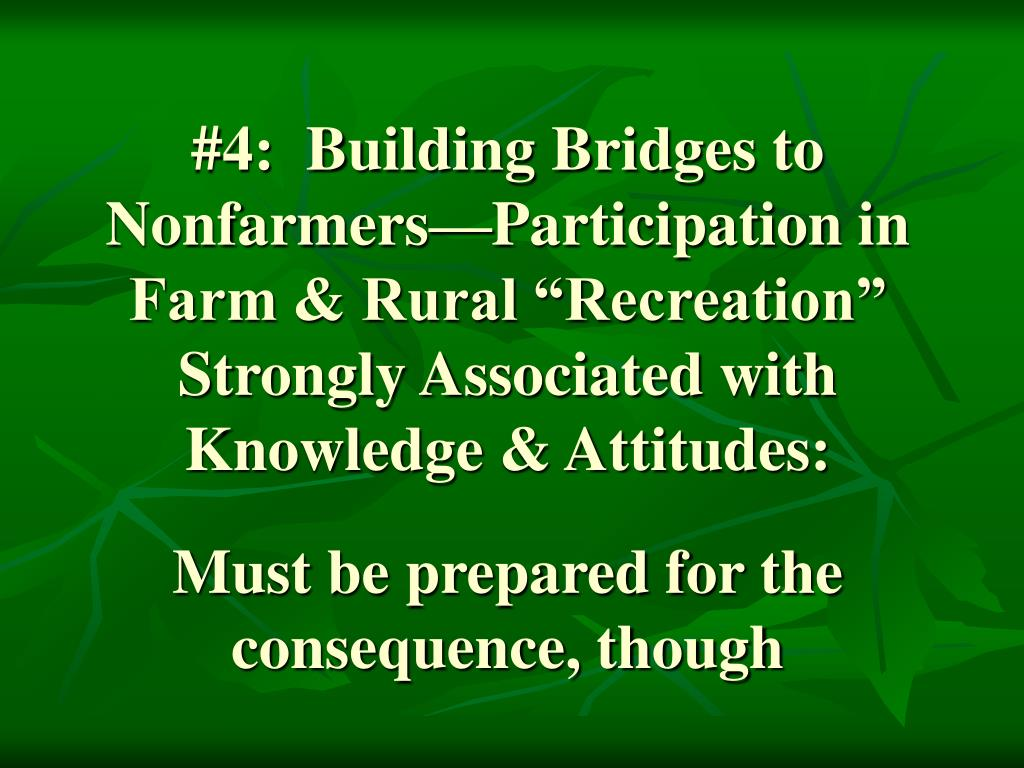 """#4:  Building Bridges to Nonfarmers—Participation in Farm & Rural """"Recreation"""" Strongly Associated with Knowledge & Attitudes:"""