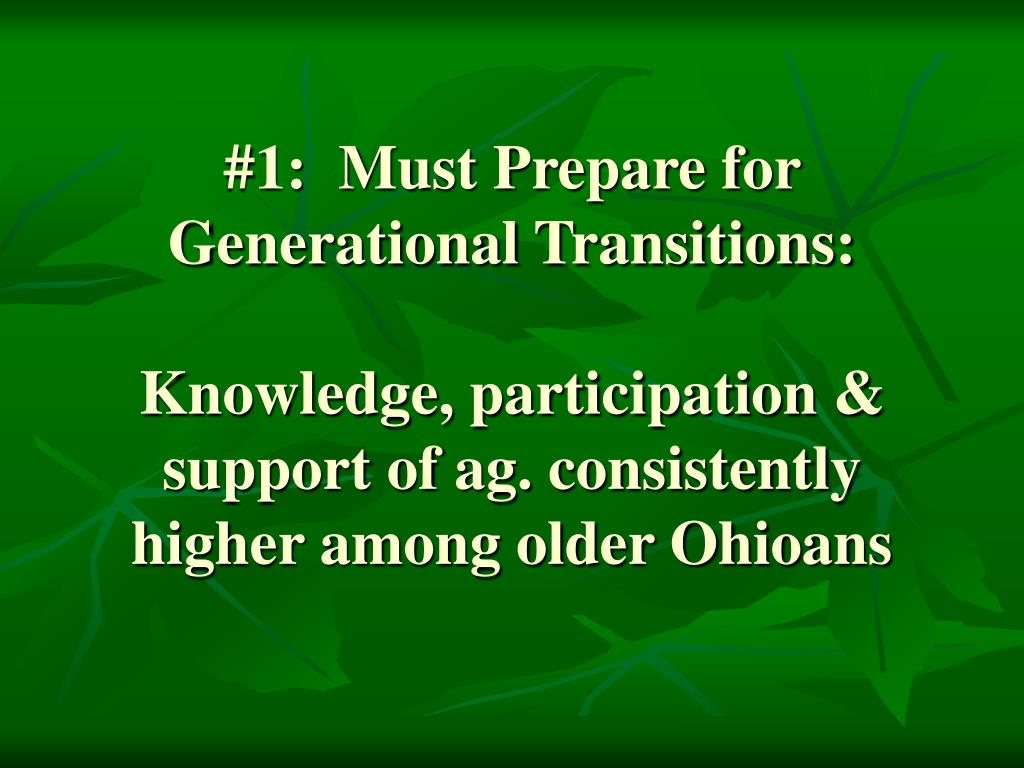 #1:  Must Prepare for Generational Transitions: